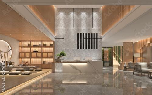Canvas Print 3d render of luxury hotel lobby reception