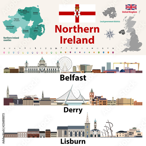 Northern Ireland counties map and largest cities skylines Fototapeta
