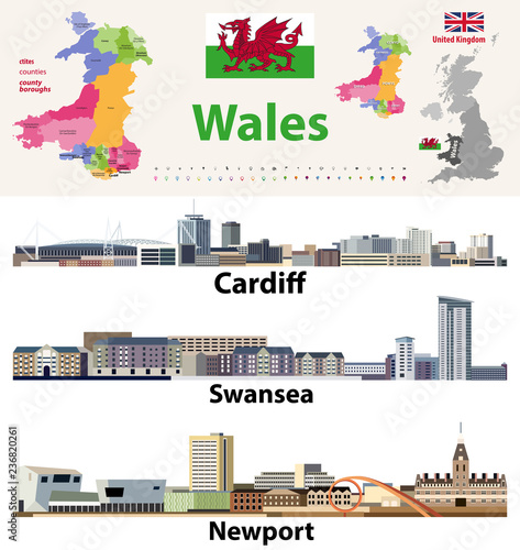 Photo Wales cities, countries and country boroughs map and Welsh largest cities skylines icons