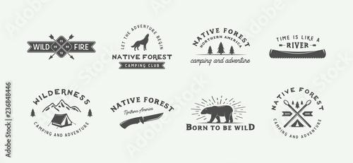 Fotografia Set of vintage camping outdoor and adventure logos, badges, labels, emblems, marks and design elements