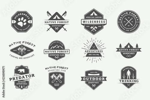 Set of vintage camping outdoor and adventure logos, badges, labels, emblems, marks and design elements Fototapeta