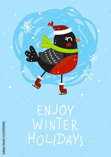 Vászonkép Winter greeting card with cute bullfinch