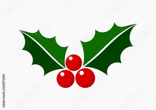 Fotografia Christmas holly icon symbol.