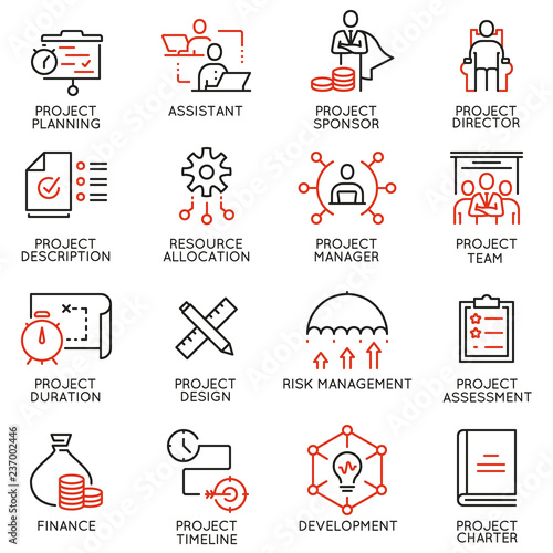 Tela Vector set of linear icons related to project management