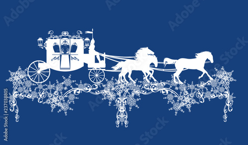 Fotografia fairy tale carriage with horses running over snowflakes decor - winter season ve