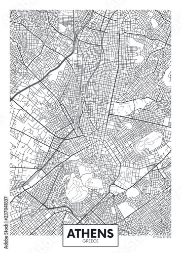 Canvas Print City map Athens, travel vector poster design