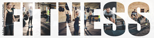 Collage of fit people lifting heavy weights in a gym Poster Mural XXL
