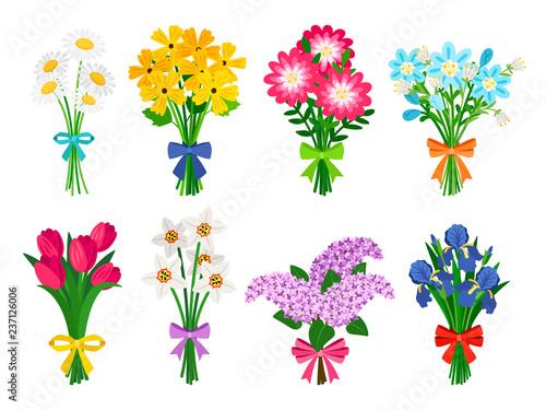 Obraz na plátne Fresh flowers bouquets