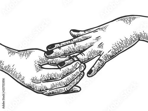 Fotografie, Tablou Man put on woman precious diamond ring marriage proposal engraving vector illustration