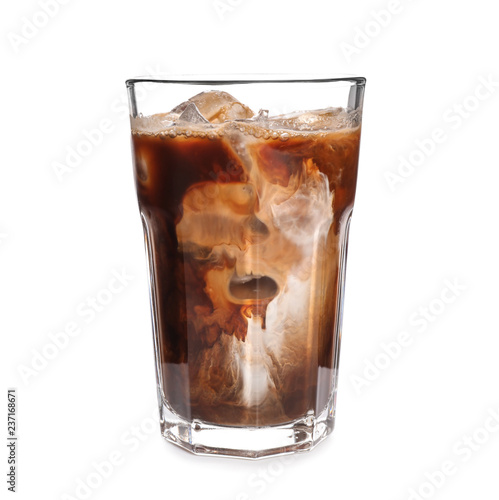 Tableau sur Toile Glass of cold coffee on white background