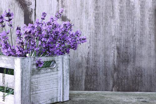 Fototapeta premium Lawenda kwitnie w pudełku na drewnianym tle
