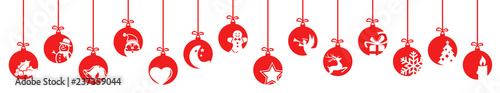 Fotografie, Obraz collection of hanging baubles with christmas icons