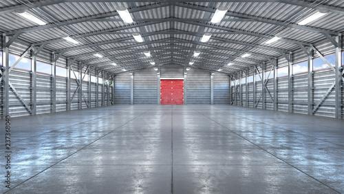 Fotografia Hangar interior with gate. 3d illustration