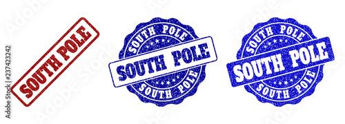 Obraz na plátně SOUTH POLE grunge stamp seals in red and blue colors