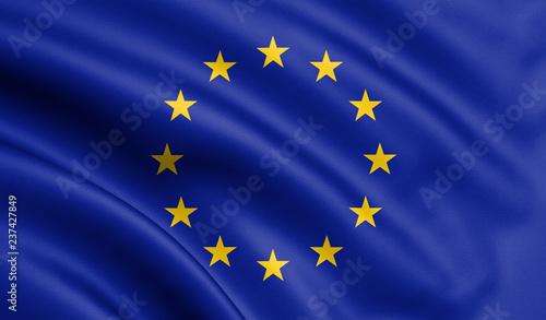 Photo Waving European Union flag , EU flag in 3D Illustration.