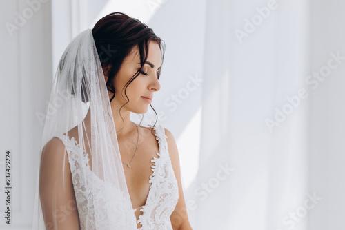 Morning of the bride. Portrait of a bride in a white dress. Fototapeta