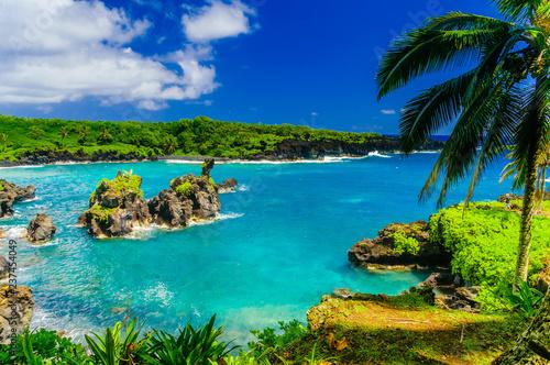 Fotografia Spectacular ocean view on the Road to Hana, Maui, Hawaii, USA