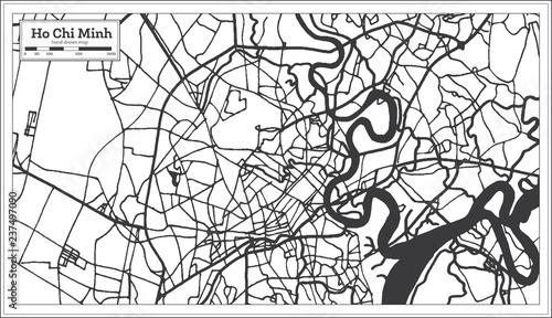 Fotografia Ho Chi Minh Vietnam City Map in Retro Style. Outline Map.