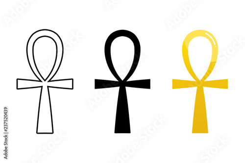 Obraz na płótnie Set, collection of ancient egyptian ankh signs isolated on white background