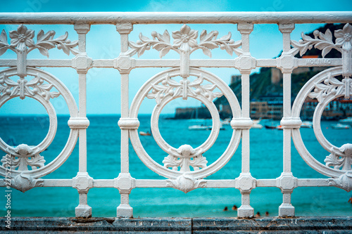 Detail of the famous fence at La Concha beach in San Sebastian or donostia Fototapet