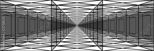 Fototapeta premium potrójny tunel z przezroczystymi ścianami, długimi korytarzami, psychodelicznym rysunkiem, złudzeniem optycznym