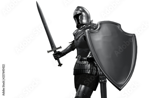 Fototapeta knight in armor with sword on white background