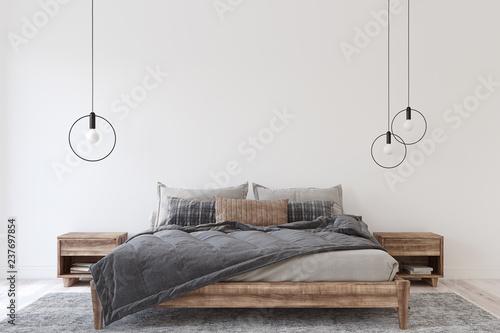 Fényképezés Bedroom interior. 3d render.
