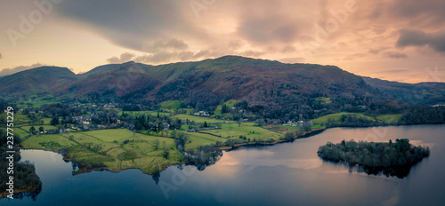 Fotografie, Obraz Lake District, UK- Aerial views of Grasmere