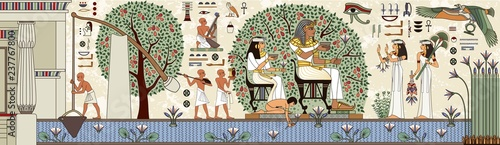 Leinwand Poster Egyptian hieroglyph and symbolAncient culture sing and symbol