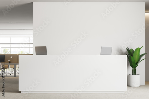 Fotografia White reception close up in modern office