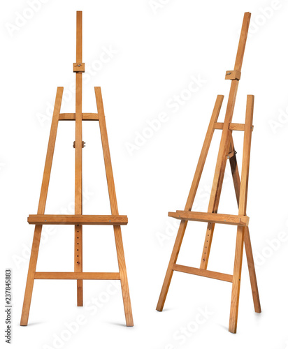 Canvas Print Wooden display easel front and side view isolated on a white background