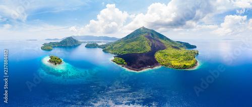 Obraz na plátne Aerial view Banda Islands Moluccas archipelago Indonesia, Pulau Gunung Api, lava flows, coral reef white sand beach