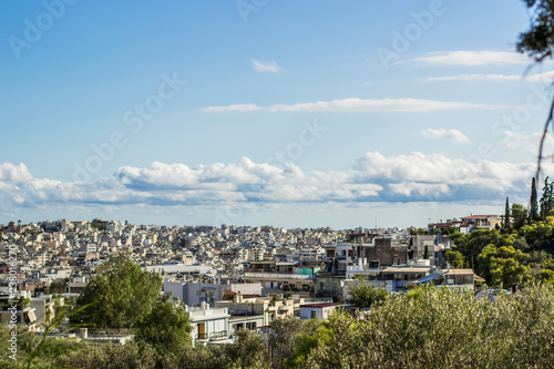 Wallpaper Mural big south America city foreshortening from above with many white small buildings