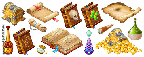 Fotografie, Obraz Isometric cartoon royal parchments, book of spells, treasure chests, magical drinks or poisons for computer game on dark background