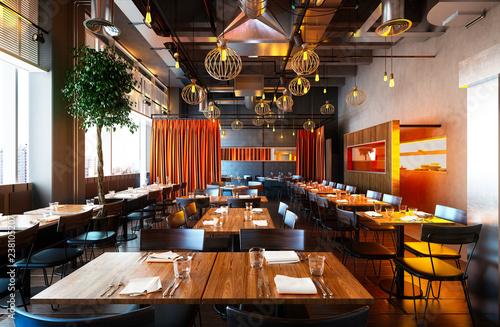 Tableau sur Toile 3d render of restaurant interior