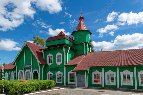 Old railway station building of Medvezhyegorsk. The station building was built in 1916, when the first trains began to depart from here.It was an original wooden structure with a hipped roof and a ste