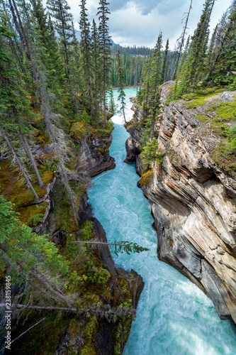 A narrow canyon at the Icefield Parkway in British Columbia Fototapete