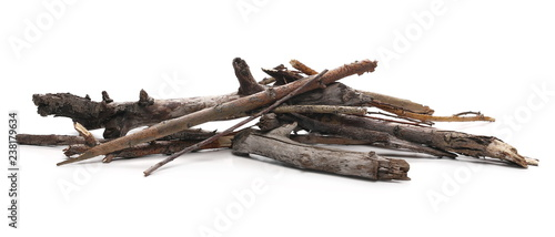 Obraz na plátně Dry branches for camp fire, isolated on white background