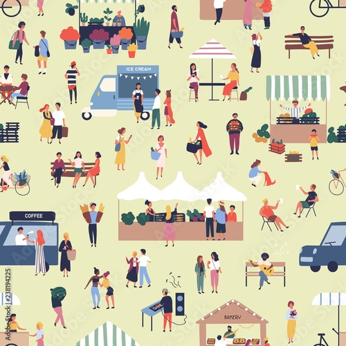 Obraz na plátně Seamless pattern with people buying and selling goods at street food seasonal market