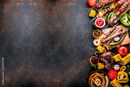 Slika na platnu Various barbecue grill food