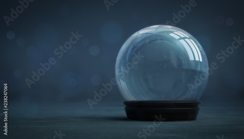 Photo empty snowball decoration on dark background, glass ball winter seasonal christm