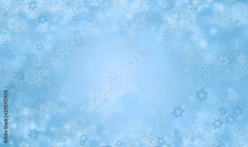 Hanukkah background with David stars and snowflakes