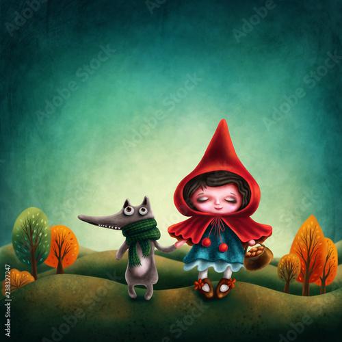 Fotografia Illustraion of a Red Riding Hood