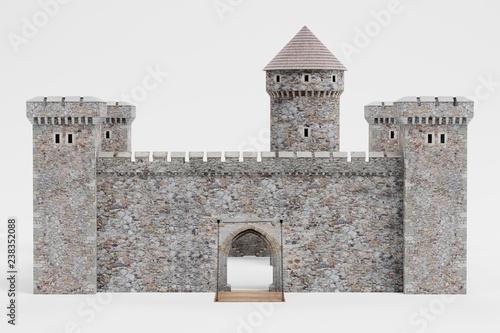 Canvas Print Realistic 3D Render of Medieval Castle