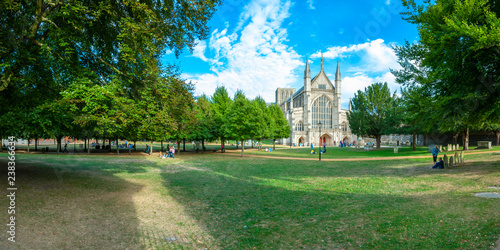 Obraz na plátně Summer time view of Winchester Cathedral west front - a stitched panorama in 2-1