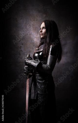 Fototapeta Portrait of a medieval warrior