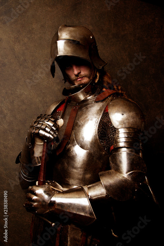 Canvas Print Portrait of a knight in armor