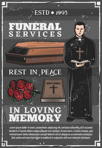 Fotografia Funeral service, mortuary burial ceremony agency