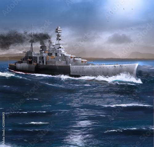 Photo Battleship HMS Repulse steaming through the Ocean
