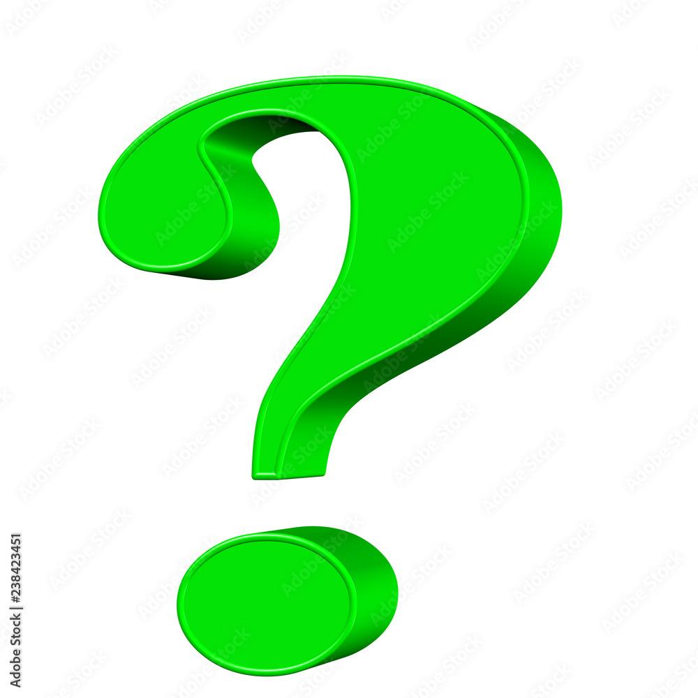 Grünes Fragezeichen vor weißem Hintergrund - obrazy, fototapety, plakaty